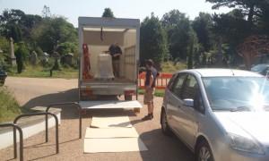 Bruce & Nick unloading the van